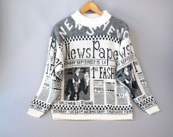 Vintage 80s black and white checkerboard newspaper novelty sweater size S or M