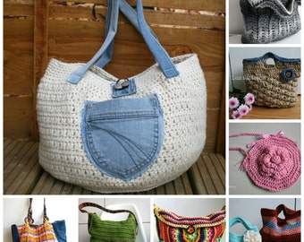 Crochet patterns, 8 crochet purse patterns sale, crochet mandala purse patterns, crochet bag patterns, crochet handbag pattern