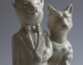 Bear Weds Fox Handmade Ceramic Wedding Cake Topper