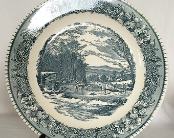 "Platter 11 1/2"" Blue and White Flatware Winter Scene Creek Trees Horse Sleigh Dogwood Floral Border"