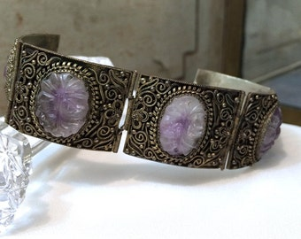 Antique Chinese Carved Amethyst Silver Bracelet, Rare Ornate Silver Amethyst Vintage Bracelet