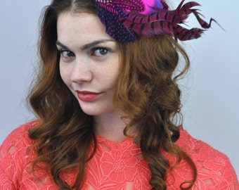 Bright Dramatic Feather Fascinator Hair Clip in Pink and Purple