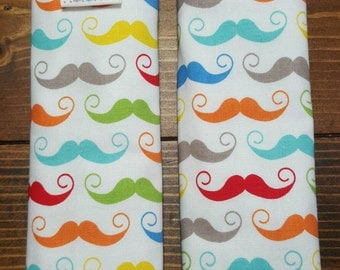 Reversible TODDLER Car Seat Strap Covers Mustaches in Multi Colors with Grey Dimple Dot Minky Baby Boy Accessories Shower Gift ITEM #068