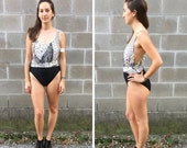 black & white scales swimsuit w/ low cut sides