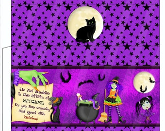 Digital Printable Halloween Gable Box - Party Favor - Halloween - Witch - Cat