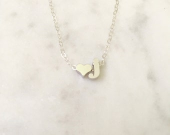 Children's Initial Necklace, Heart Initial Necklace, Letter Charm Necklace, Personalized Jewelry, Bridesmaid Necklace, Lowercase Initial