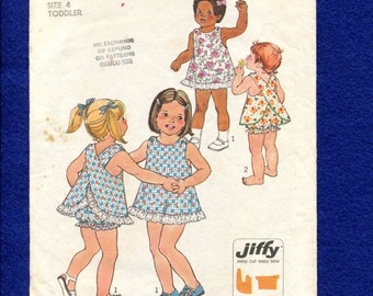 Vintage 1976 Simplicity 7407 Cross Back Sun Dress or Top & Bloomers for Little Girls Size 4