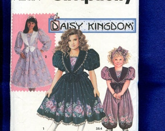 Simplicity 7698 Sizes Daisy Kingdom Victorian Girl's Party Dress & Jumpsuit with Puff Sleeves Large Collar 3..4...5 Girls