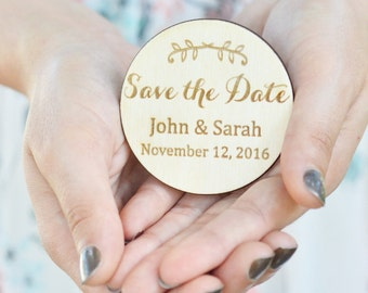 wood save the dates, personalized magnets Save the date