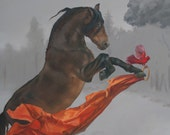 Brass Ring - horse and cardinal - 8.5 x 11 art print of an oil painting - equestrian art