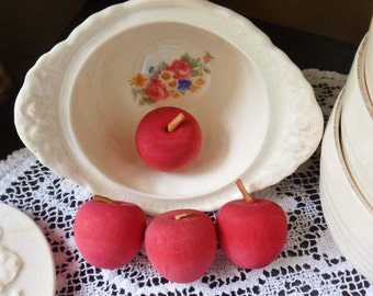 Four Tiny Cinnamon Scented  Wooden Apples, Decorative Red Stained Apples with Leather Stems