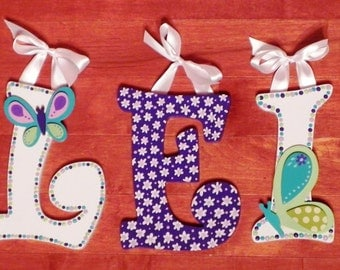 Beautiful Butterfly Hand Painted Wooden Letter