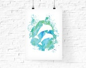 Dolphin Print - Nursery Decor - Watercolor Dolphin Nursery Art -  Home Decor -  8x10 PDF Nursery Poster -  Instant Download - Teal Turquoise