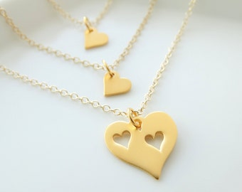 Mother daughter Necklace Gold, mother daughter jewelry Heart necklace mother of two daughters Mothers day from daughter