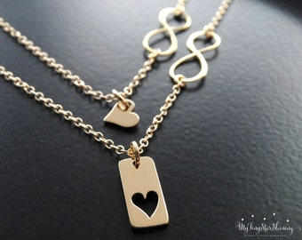 Infinity Necklace Mothers Necklace Mother daughter Necklace Set Mother daughter jewelry Infinity heart necklace Gold Necklace