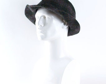 "Mens Vintage Trilby >> Grey Checked Woven Wool Fedora Hat >> Medium / 22.5"" / 57cm"