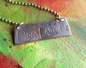 Boss Lady Girl Boss Hand Made Hand Stamped Metal Jewelry Eco Friendly Pendant Tag Charm Ornament Live out Loud Be Brave with Your Life