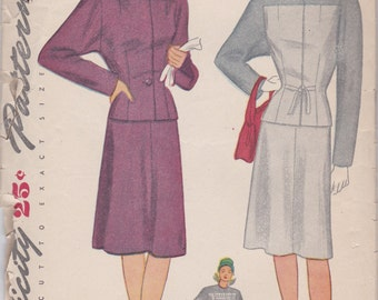 Classic 1940s Two Piece Dress or Suit Pattern Simplicity 1447 Size 12
