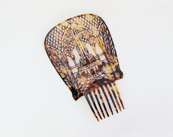 Vintage hair comb, 1920's carved celluloid hair comb with elaborate fountain scene, faux tortoiseshell mantilla comb