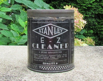 "Vintage cleaning product tin, 1930's ""Stanley E - Z Cleaner"", commercial tin, collectible tin"
