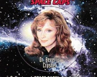 Vintage Star Trek The Next Generation Playmates Space Caps Trading Card 1994 Dr. Beverly Crusher No 2 - Paramount - USS Enterprise - Borg