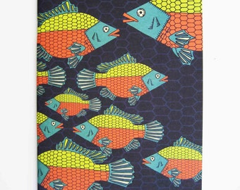 Tropical Paleo Tilapia Fish A5 Notebook / Sketchbook by Lulu Kitololo