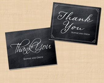 Chalkboard Bordered Thank You Cards (Fold to 5.5x4.25): Text-Editable in Word®, Printable Instant Download