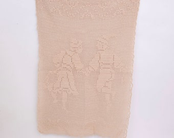Vintage Dancing Couple Ecru Crochet Lace Doily Folk Art Tyrolean Dancers Rectangle Runner Hand Crocheted