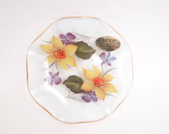 Vintage CHANCE GLASS Fiestaware Dish SPRINGTIME Daffodils Violets Made in England Reverse Hand Painted Glass