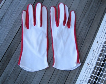 Amazing Vintage White Mod Gloves with Red Trim/Racing Stripes~Women's XS-Small Red/White Gloves; Free Shipping/U.S.