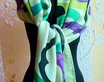 Silk Charmeuse Hand Painted Scarf Wrap Shawl in Sage Green, Emerald, Turquoise, Black, Purple