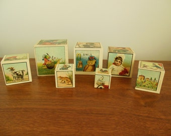 Nesting Boxes Set of Seven Wooden Toy Boxes with Animals and Children