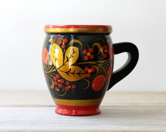 Folk hand painted vintage wooden cup / Russian Eastern European style folk art / rustic home decor / folk style collectible painted wood mug