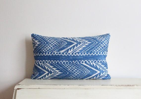 """Block printed chevron pillow cushion cover 12"""" x 20"""" in denim blue"""