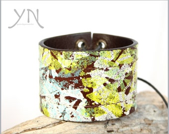 Abstract Leather Cuff Bracelet | Mens Womens Jewelry | Painted Leather Bracelet | Cuff Bracelets For Women |  Upcycled Belt Bracelet
