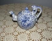 Oriental Blue & White Dragon/Foo Dog Teapot, Vintage, Made in Japan, Blue n White Pottery