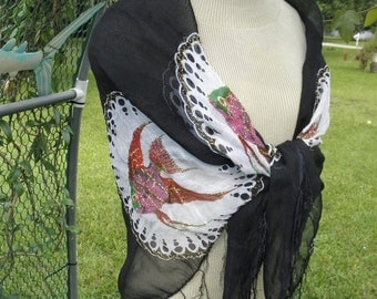 "Colorful Tropical Fish on Black & White Fringed Sheer Scarf Shawl, Burlesque, Hippie, Beach, Scarf, Showgirl, 3"" Fringe"