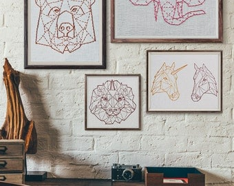 modern hand embroidery patterns, geometric animals, beginner embroidery, modern embroidery, contemporary embroidery, rustic home decor