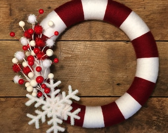 Christmas Candy Cane Wreath/Yarn Wreath/Christmas