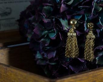Monet Goldtone Tassle Earrings