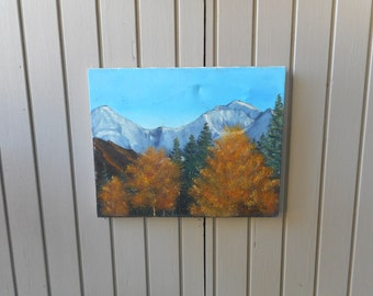Vintage Original Oil Painting Rocky Mountains Fall Foliage Signed J. Murray 1988