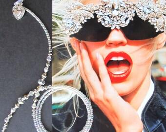 Eyewear holder, Silver crystal beaded Eyeglass holder, Glasses beaded chain, Reading glasses, Sunglasses, Eyeglass jewelry, Handmade