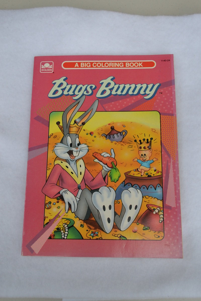 bugs bunny big coloring book by golden 1991 pink yellow gray. Black Bedroom Furniture Sets. Home Design Ideas