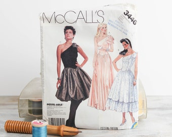 Misses Size 12, 14, 16, Formal dress w/ Shaped bodice waistline, gathered skirt variations, 1980's McCalls (3446) Vintage Sewing Pattern