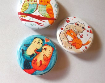 animals in love button pack, pins, otter, cat, owl