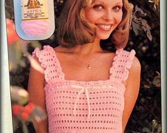 No.475 PDF Crochet Pattern Vintage 1970's - Women's Crochet Camisole Tank Top - Teen's Summer Sleeveless Top - Retro Crochet Pattern