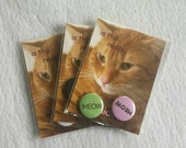 """Cat Sticker and Pins Pack - 1 Sticker, 2 """"Meow"""" Pinback Buttons Set - Comic Sans and Glossy - ironic hipster cat lover stocking stuffer gift"""