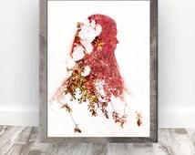 Multiple Exposure Portrait Print Download, Double Exposure Surreal Girl Print, Silhouette Girl Photo Art, Nature Wall Art, Digital Print