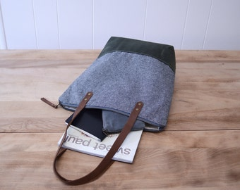 Zipper Tote Bag in Charcoal Linen with Waxed Canvas