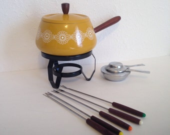 Vintage Fondue Pot, Yellow Metal Fondue Pot, Vintage Party, Vintage Dining, Japan Fondue Set, Forks Burner Pot